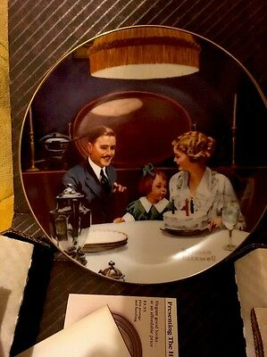 """Edwin Knowles China Norman Rockwell Porcelain Plate 8.5"""" The Birthday Wish Rare"""