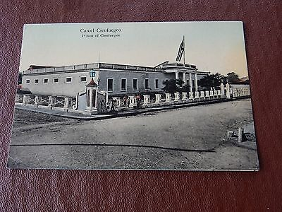 Cienfuegos Prison Jail  Postcard   Original  Antique  Warder Prisoner Crime