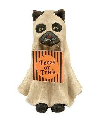 Spooky Ghost Cat Halloween Trick Or Treat Cat Bethany Lowe Figurine New