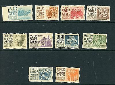 MEXICO--Short Set of 10 Airmail Stamps Scott #C186/#C196