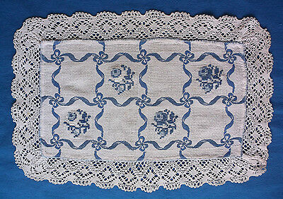 Vintage Blue and Ivory Hand Made Table Runner Doily Flowers, Bows - Placemat