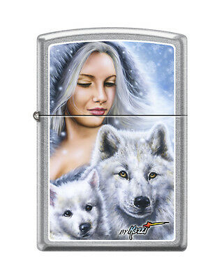 Zippo 3534, Mazzi-Lady With Wolves-Winter, Street Chrome Finish Lighter