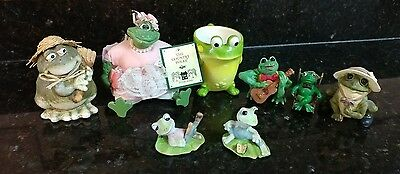 8 FROG LOT COLLECTION Homco 1447, Russ Pinkykins, Toby Toad Burton