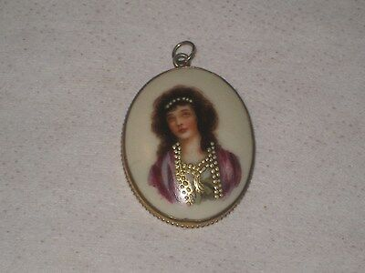 Antique Numbered Porcelain Portrait Pendant W/ Painted White/Gold Jeweled Accent