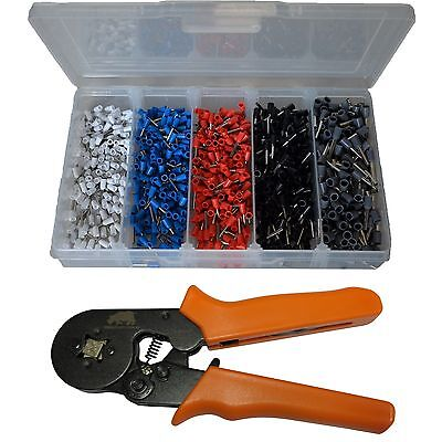 1000 Piece Bootlace Ferrule Kit + Self Adjusting Crimper Crimping Tool