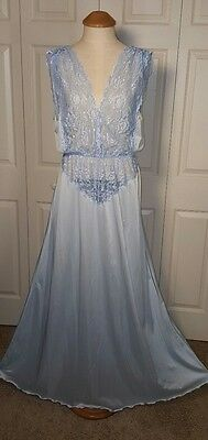 Vintage blue Jenelle of California Nightgown Nylon Tricot Sheer Lace 50s 60s