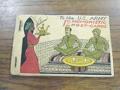Rare Vintage WWII 12 Postcard Booklet US Army North Africa Campaign Humor Comic
