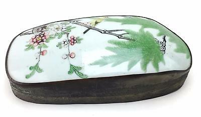 Chinese Asian Porcelain Brass Shard Box Floral Bird Scene