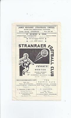 Stranraer v Morton Scottish League Cup Football Programme 1956/57 August 15th
