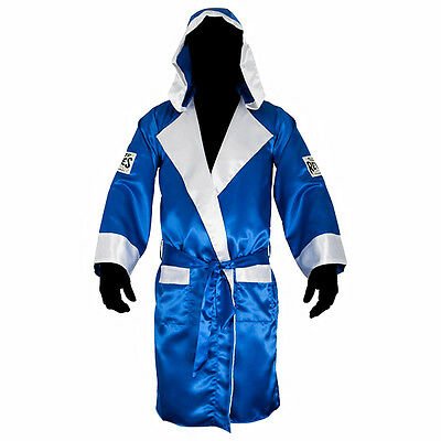 Cleto Reyes Satin Boxing Robe with Hood - Blue/White