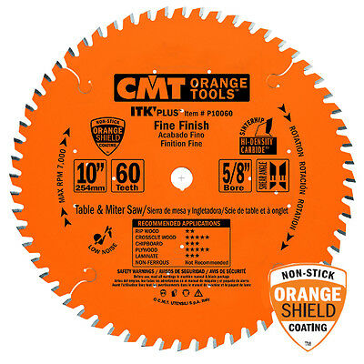 "CMT P10060 10"" x 60T Carbide Tipped ITK Plus Circular Saw Blade Table / Miter"