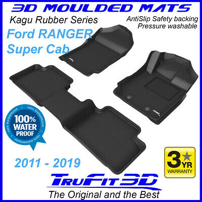 To suit Ford PX PX2 2011 - 2017 Ranger SUPER / EXTRA Cab 3D Black Rubber Mats