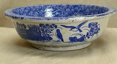 "Antique Chinese Export Blue White Canton 8 3/8"" Hand Thrown Painted Pottery Bowl"