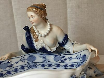 Antique Meissen Porcelain lady with bowl Figurine Crossed Swords