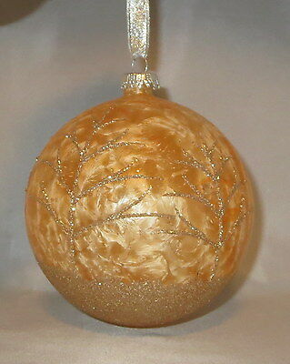 """Gold Ornament Ball Glass Trees Glittery Large 5"""" Hand Painted Stony Creek New"""