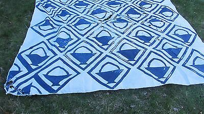 "LARGE Blue Antique 1890 New England ""BASKET IN A FRAME"" Patchwork Quilt, Crafts"