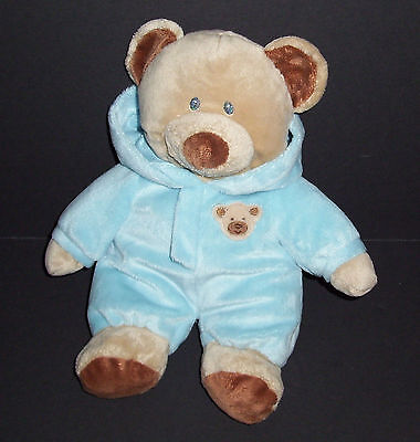 """11"""" Ty Pluffies 2010 Blue Baby PJ Bear NON REMOVABLE Plush Stuffed Hood Lovey"""