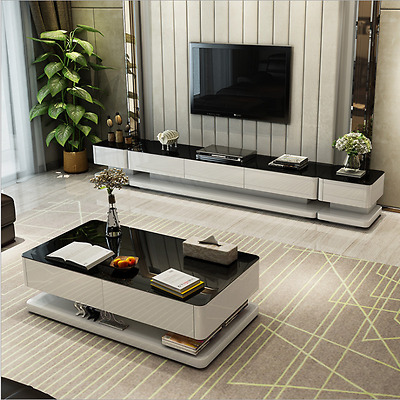 High Gloss TV Stand Entertainment Unit & Coffee Table Set Tempered Glass D01