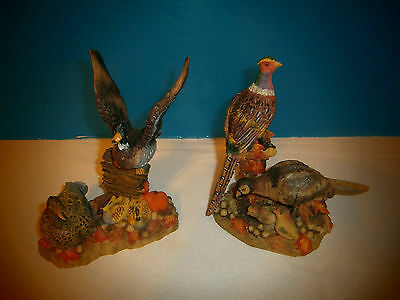 Pheasant and Duck Resin Figurines,  Set of 2