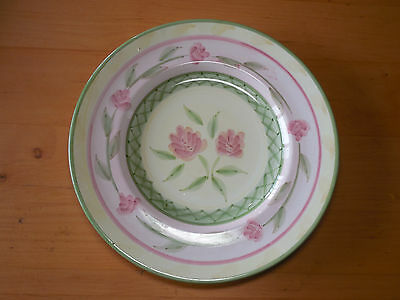 "Bella Italy BL8 Set of 5 Dinner Plates 10 3/4"" Pink Roses Green Criss Cross"