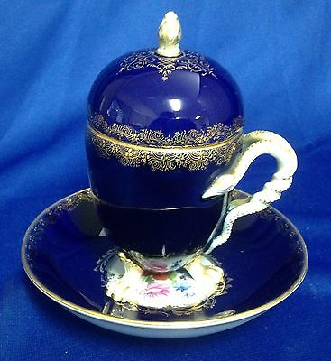 19th C MEISSEN Porcelain Covered Cup with Feet and Snake Handle, Plus Saucer.