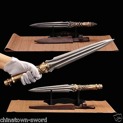 Dragon tiger Overlord Spear pike Spearhead Short sword Folded steel sharp #0037