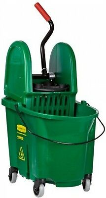 Rubbermaid Commercial WaveBrake Mop Bucket And Down Press Wringer Combo, Green