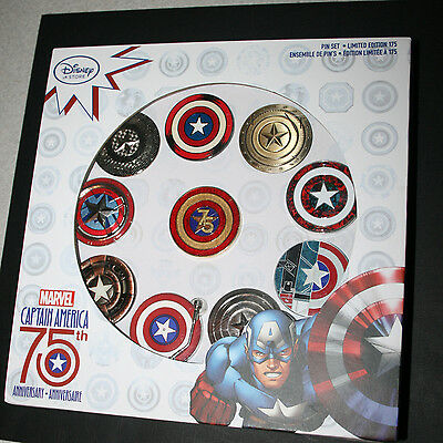 Disney Store Marvel Captain America 75th Anniversary Limited Edition 175 Pin Set