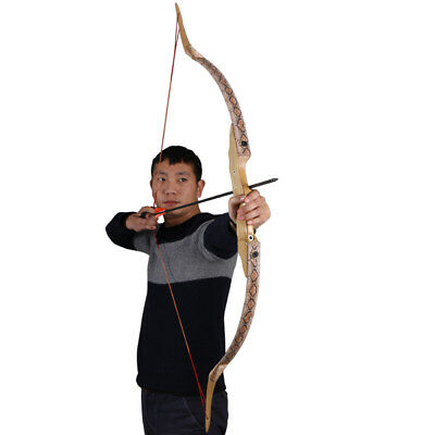 57'' 45lbs Takedown Fiberglass Snakeskin Recurve Bow Hunting Archery Right Hand