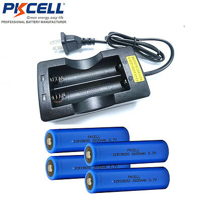 4 pcs PKCELL 18650 Battery 2600mAH Button Top For FlashLights + Dual Charger US