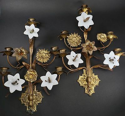 2 French Gilt Bronze Ormolu Glass Flower Wall Mount Sconces 19th Century
