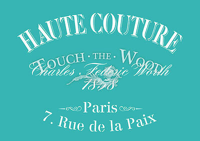 Shabby Chic STENCIL: Vintage French Haute Couture (Furniture Print Transfer)#006