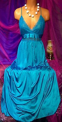 Vintage Turquoise Plunge Nylon Sheer Lace Nightie Peignoir Long Sweep Gown S