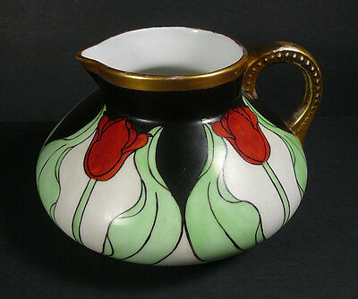 Art Nouveau 1906 Limoges Hand Painted Cider Pitcher Red Tulips Black Green Gold