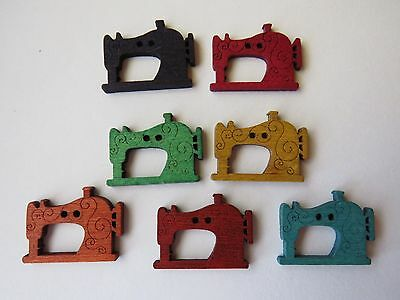 """7  """" SEWING MACHINE """"  Wooden Coloured Buttons...NEW...2.5cm X 1.8cm..Lot 3"""