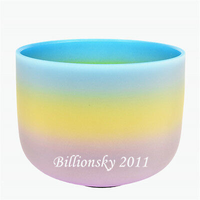 """432 Hz  G Throat Chakra Rainbow Color Frosted Crystal Singing Bowl 8"""""""