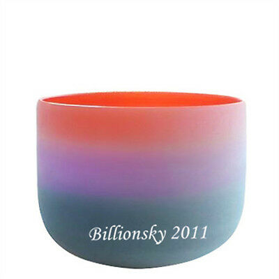"""Gradient Colored  Frosted A# Pineal Chakra Quartz Crystal Singing Bowl 8"""""""