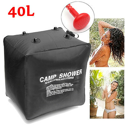 40L Portable Solar Heated Shower Water Bag Pipe Outdoor Camping Hiking Travel