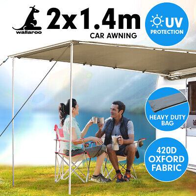 2m x 1.4m Awning Roof Top Tent Camper Trailer 4WD 4X4 Camping Car Rack Pull Out