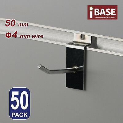50 x SLAT WALL HOOK SLATWALL PANEL GROOVED DISPLAY BOARD CHROME 50MM 4MM FREE