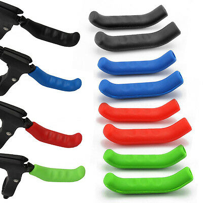 2Pcs Mountain Bike Bicycle HandleBar Grip Brake Lever Silicone Cover Protector