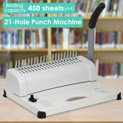 21 Hole 450 Sheets Home Office Paper Punch Binder Comb Binding Machine White