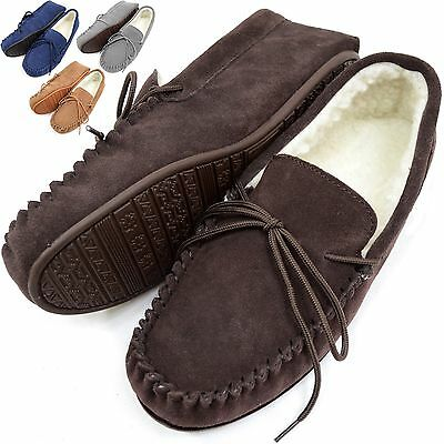 Mens Sheepskin Wool Moccasin Slippers with Rubber Sole