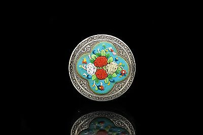 Antique Original Perfect Silver Enamel Persian Small Written Box