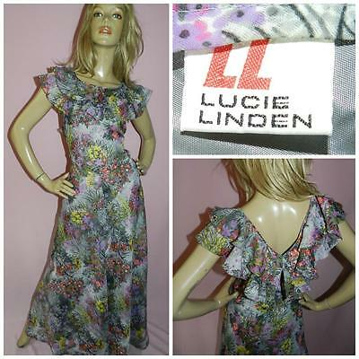 70s LUCIE LINDEN WILDFLOWER PRINT FLOATY MAXI DRESS 10-12 S/M 1970s BOHEMIAN