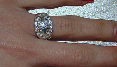 Vintage Estate Sterling Silver Amazing Ornate Etchings Wide Ring US Size 7 925