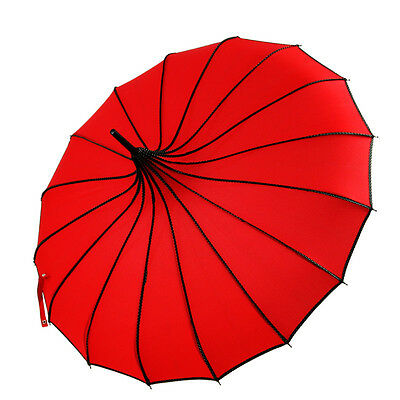 Vintage Red Nylon Bridal Pagoda Umbrella Wedding Party Prom Shower Sun Parasol