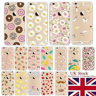For iPhone 7 6 6S Plus Case Ultra Thin Clear Patterned Pictorial Soft Cover zz
