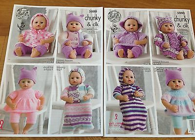 King Cole Double Knit Knitting Pattern -  Dolls Clothes - 5000