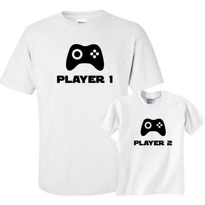 71be923c Mens Daddy Son Matching T-Shirt Tee Top Player1 Player 2 Father T shirt  Funny